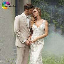 Beige Wedding Men Suits Slim Fit Groom Wear Tuxedos 3 Pieces (Jacket+Pants+Vest) Bridegroom Suits Blazer Prom