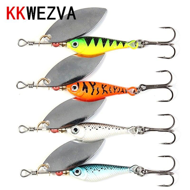 KKWEZVA 4 Uds Spinner cebo 11g/8CM Spinners señuelo para pesca en hielo Longcast artificiales carnada tipo cuchara de metal isca cebo Artificial,