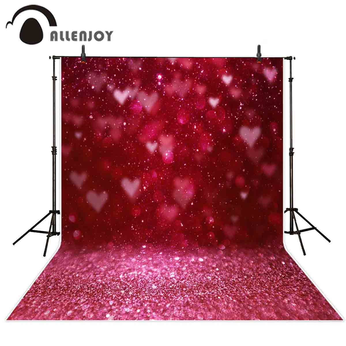 Fondo fotográfico Allenjoy 14 de febrero Día de San Valentín brillante para bodas amor brillante fotografía telón de fondo photophone photocall