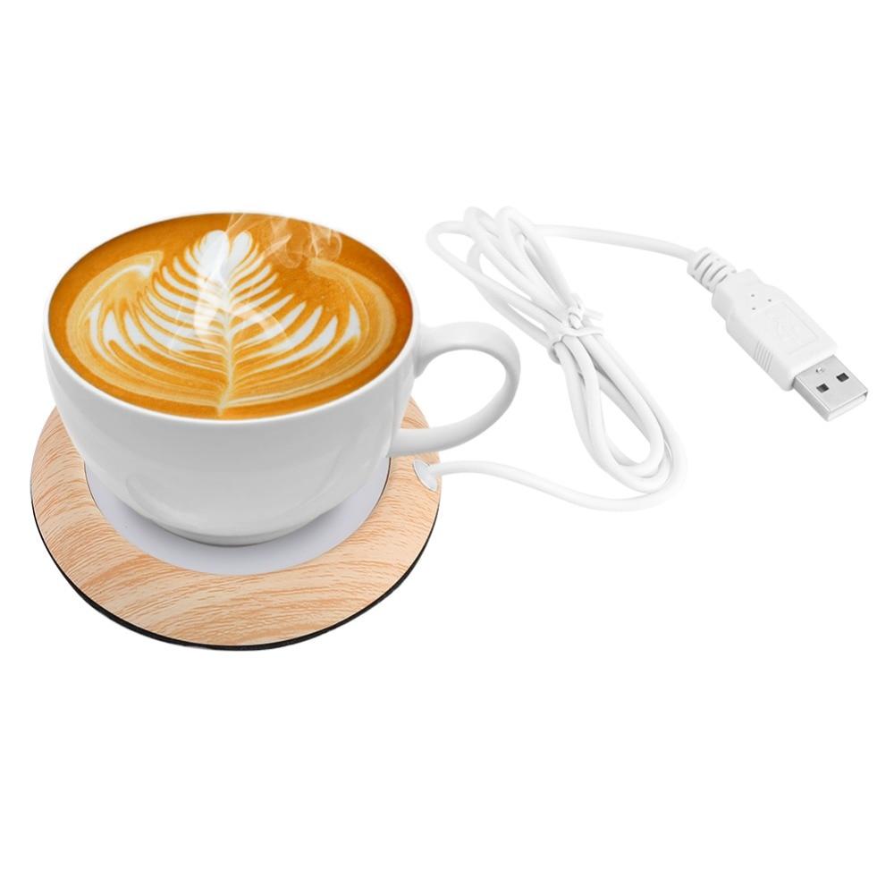 Портативный USB Термокружка с деревянным зерном, Термокружка для напитков, коврик, сохраняющий тепло, нагреватель, кружки, горки