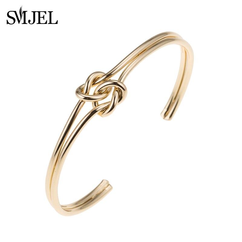 SMJEL, nueva moda, brazalete de doble nudo para mujer, joyería de Metal para boda, brazalete de amante, brazalete nupcial, pulseras de regalo
