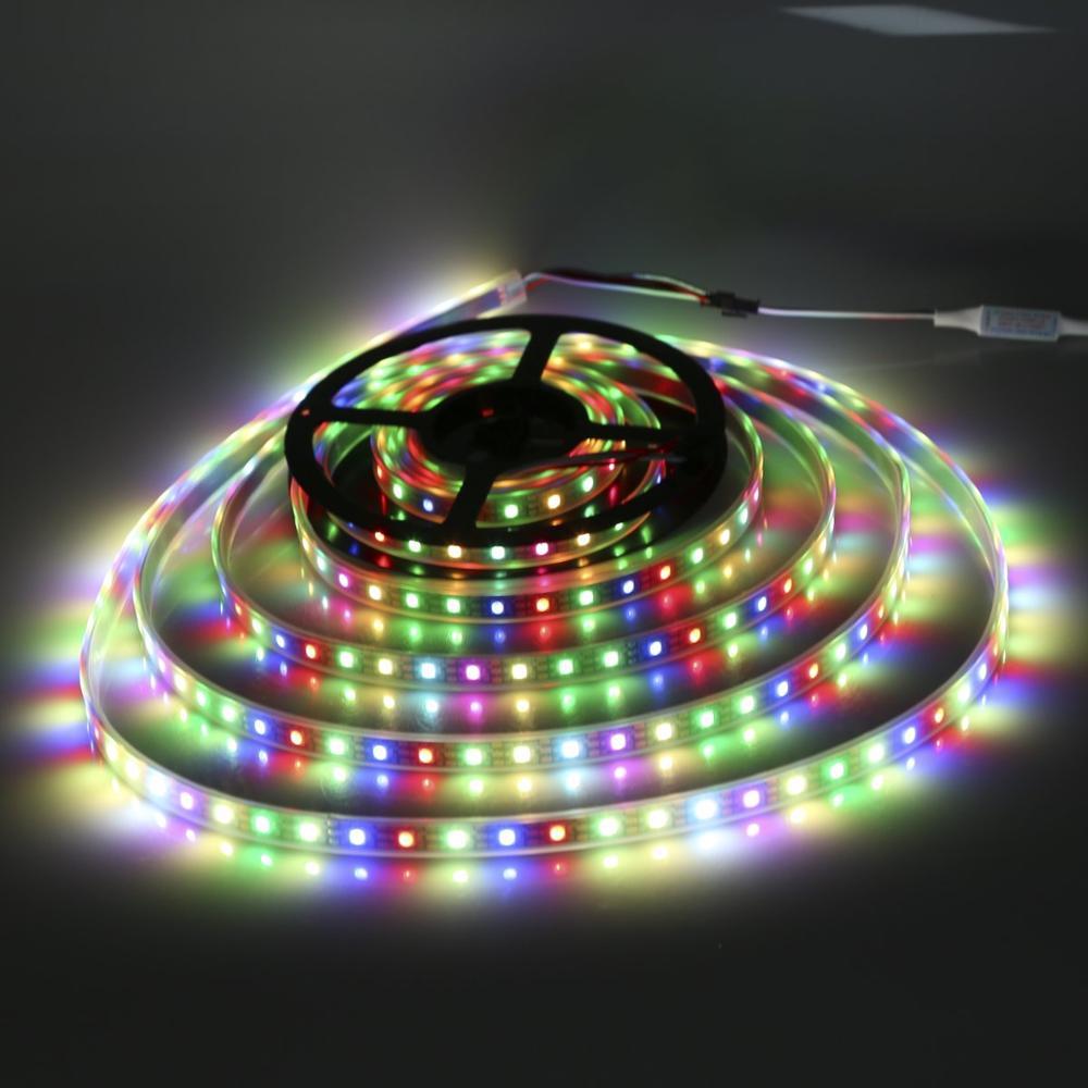 1m, 3m, 5m, DC5V, 4 colores en 1, tira de led SK6812 RGBW + NW/CW/WW, cinta de luz 30/leds 60/144/m IP30/IP67; Direccionsablemilar ws2812b