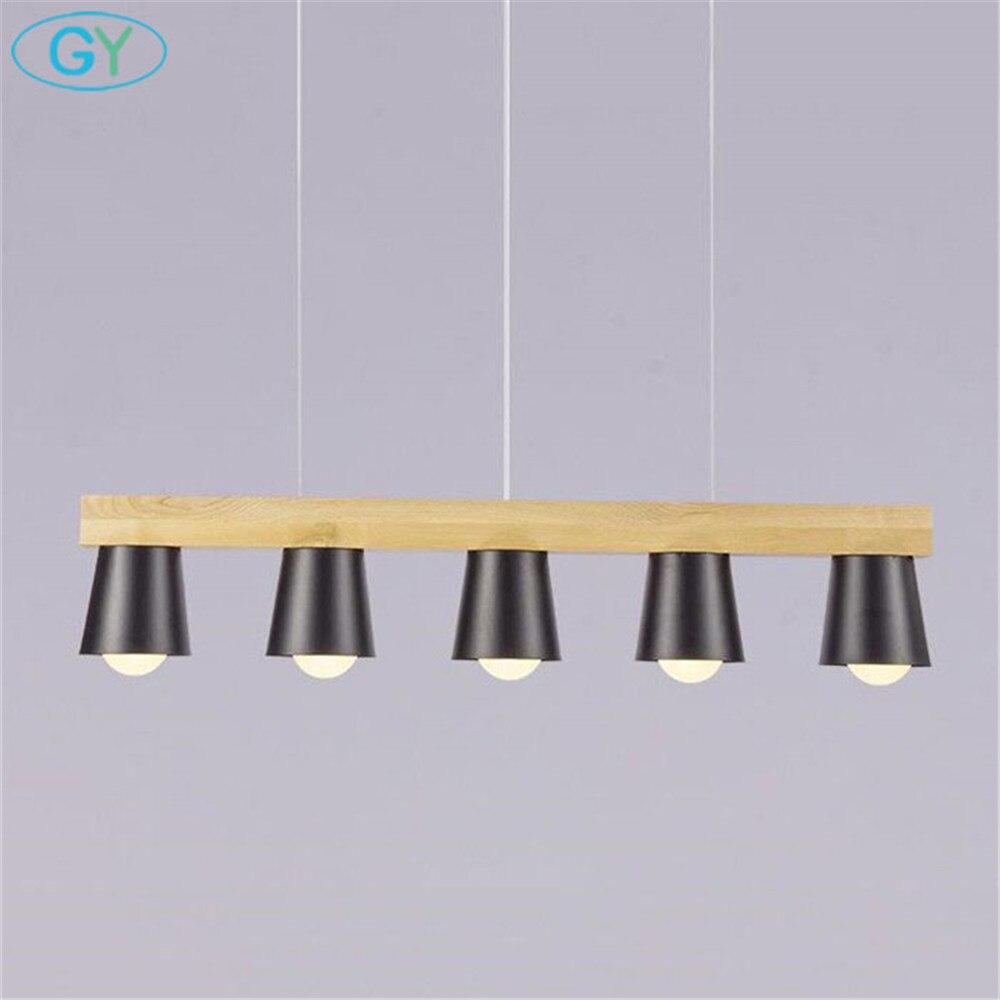 Nuevo lustre madera colgante estilo loft negro blanco cocina isla iluminación Metal comedor lámpara colgante isla luces
