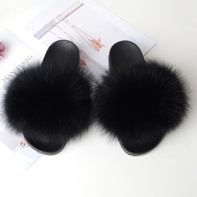 COOLSA, pantuflas planas antideslizantes de piel de zorro para mujer, zapatillas peludas para mujer, Zapatillas de piel de felpa para mujer, envío directo, zapatos de piel para mujer, producto en oferta