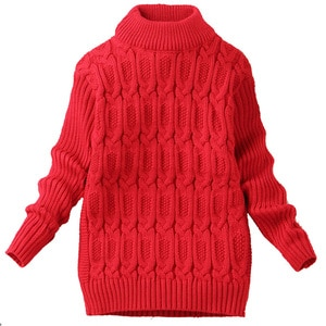 TBwish 5-10Y pure color winter boy girl kid thick Knitted bottoming turtleneck shirts solid high collar pullover sweater