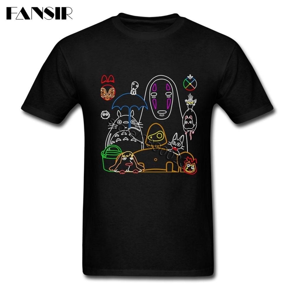 Ghibli Clothing Creative Men T-shirts Short Sleeve Pure Cotton T Shirt For Boy Plus Size