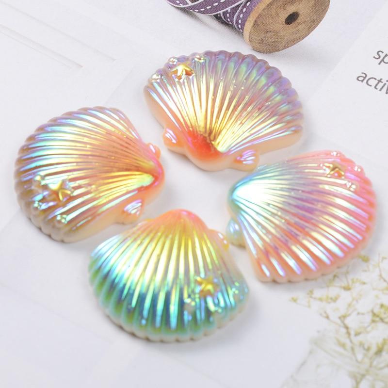 10 Uds de resina Kawaii láser de Flatback adorno de cabujones bricolaje accesorios Scrapbooking adornos para manualidades 25*26mm