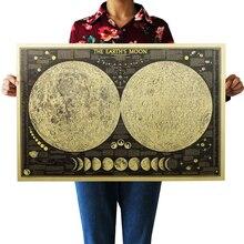 DLKKLB-grand papier rétro Vintage   Affiche de carte du monde de la terre et de la lune, décoration murale pour la maison, autocollant mural