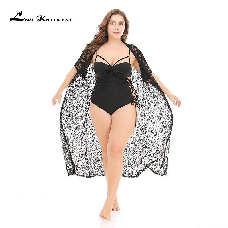 Lan Karswear, Пляжное бикини, длинный, большой, женский, прозрачный, вязаный, размера плюс, одежда, открытая, черная, для женщин