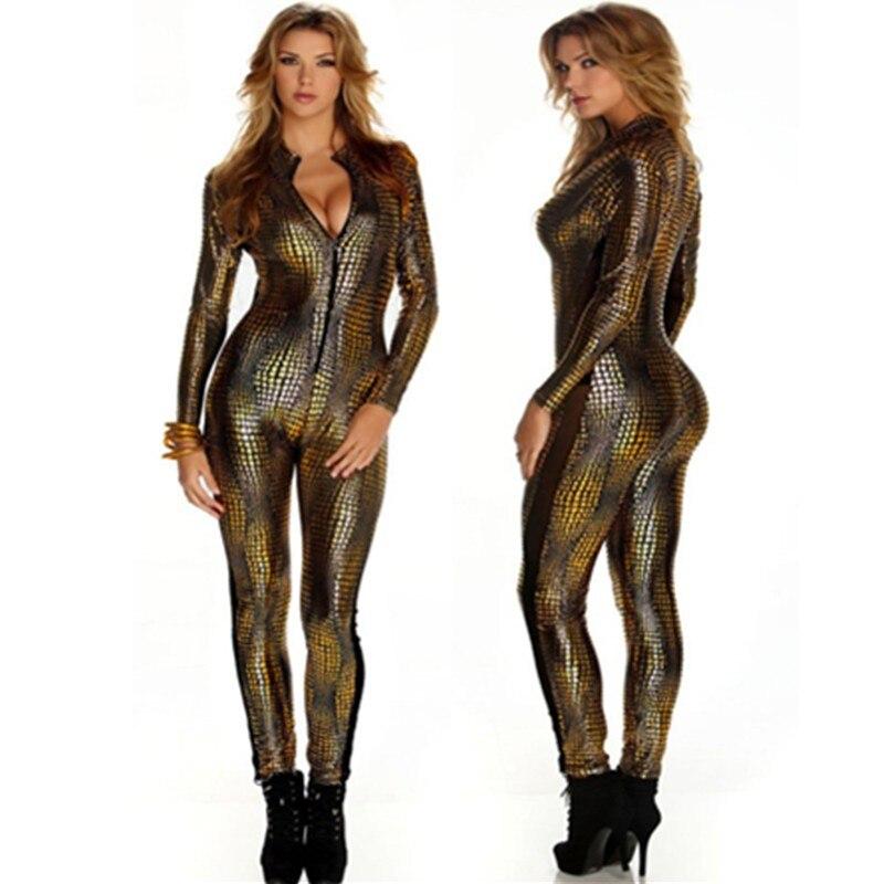 2016, золотистый комбинезон из змеиной кожи с длинным рукавом, на молнии спереди, черный, серый, женские пляжные костюмы, костюм из искусственн...