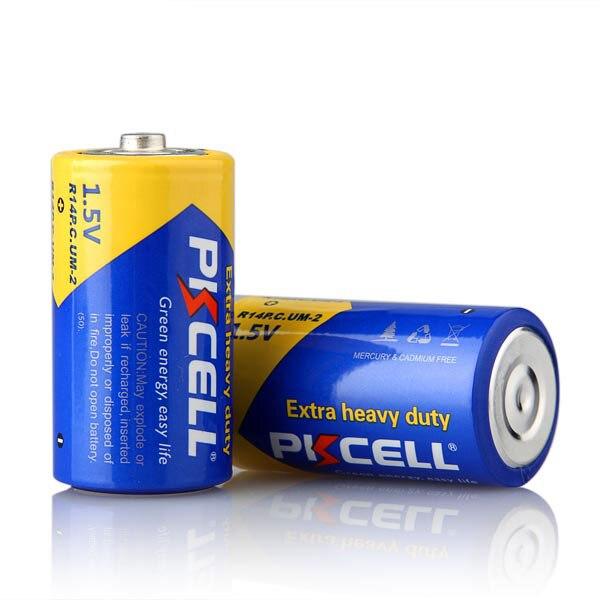 24 x PKCELL Super Heavy Duty R14P C tamaño UM2 baterías 1,5 voltios celda seca batería de Zinc de carbono en 2 tarjetas