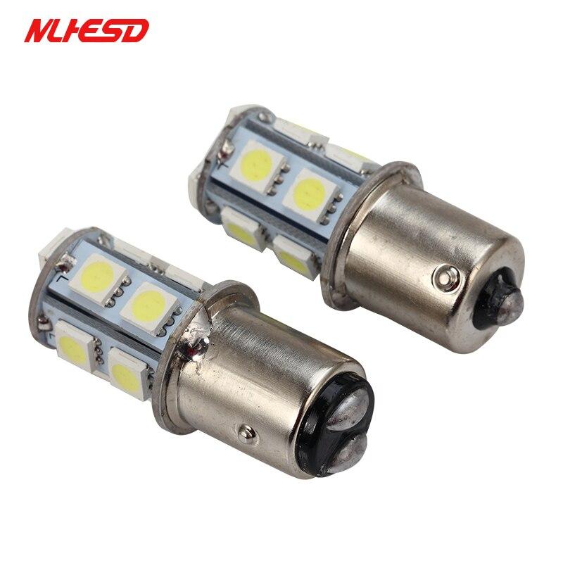 10 Uds P21W 13 SMD 5050 1156 BA15S de freno de estacionamiento trasera lámparas de bombilla Led de coche 12V 12V 13LED bombilla de luz intermitente de alta calidad
