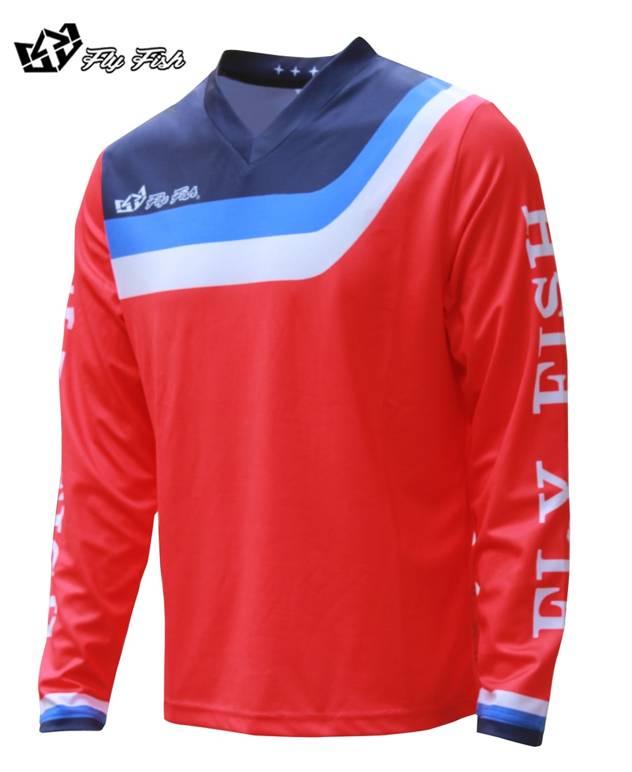 Volar peces de hombre GP aire camiseta prisma rojo MX ATV Motocross MTB bicicleta camisa DH MX todos ciclismo de montaña camisa