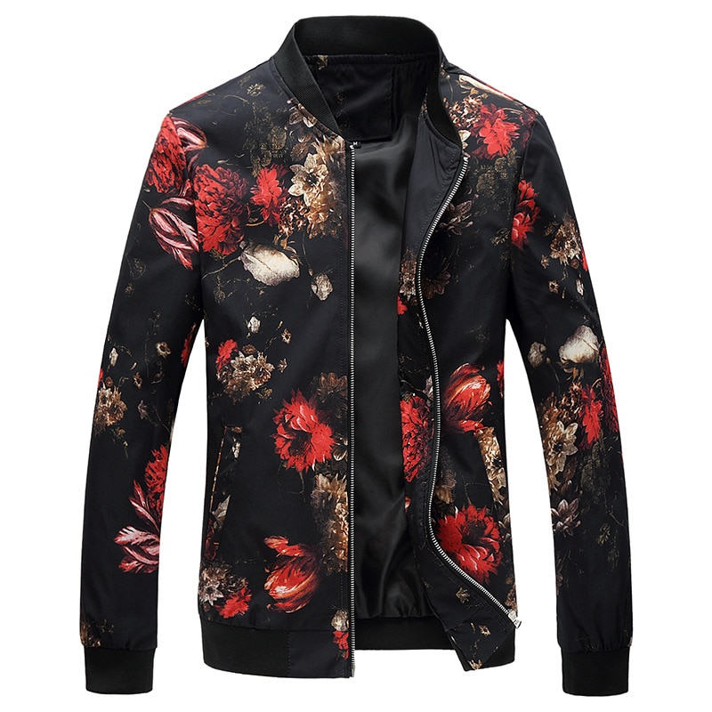 Men Floral Printed Fashion Slim Fit Mens Casual Jackets Long Sleeve Spring Autumn Bomber Jacket  Mens Windbreaker Coat Male jacket men long sleeve casual chaquetas hombre spring autumn zipper bomber coat business male pure color baseball jackets homme
