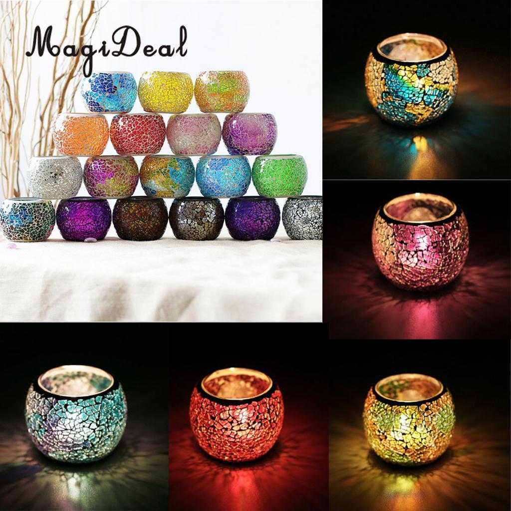 Portavelas votivo de vidrio de mosaico marroquí variada MagiDeal candelero de luz de té candelero para decoración del hogar