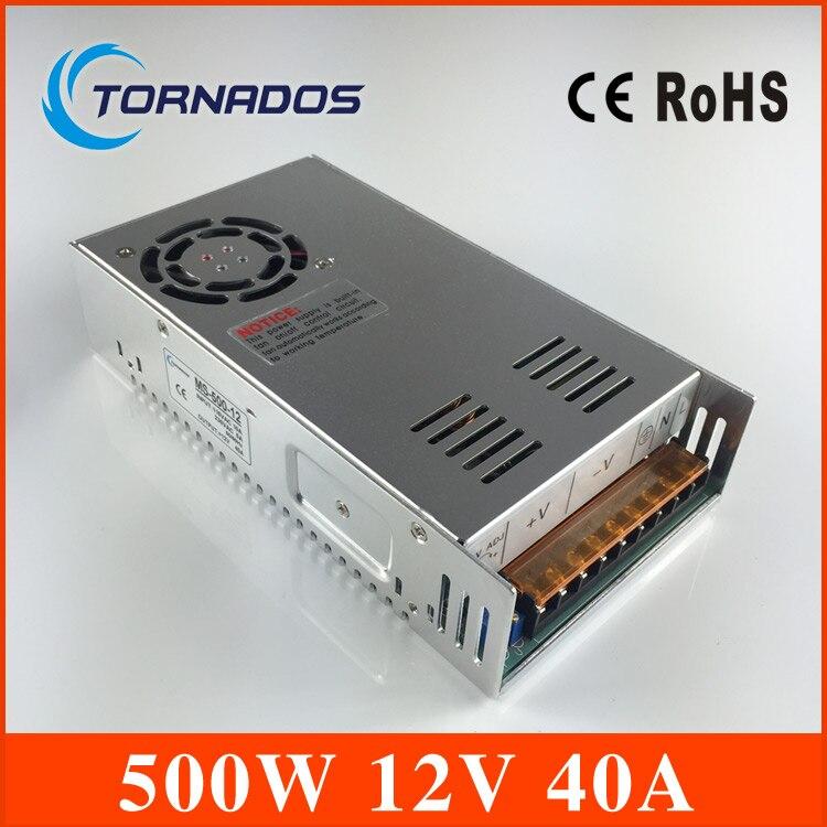 Ac para dc 500 w 12v 40a suficiente 110 v/220 v tira lâmpada led driver fonte de comutação fonte alimentação volt MS-500-12