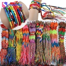 Armbänder für frauen 2018 Neue 50Pcs Großhandel Bunte Armband Schmuck Lot Braid Stränge Freundschaft Cords Handmade