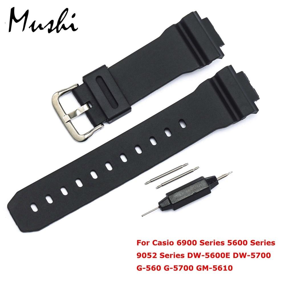 Ремешок для часов для Casio, серия 6900, серия 5600, DW-5600E, для мужчин, Blcak, ремешок для часов с пряжкой, ремешок для наручных часов, черный + инструмент