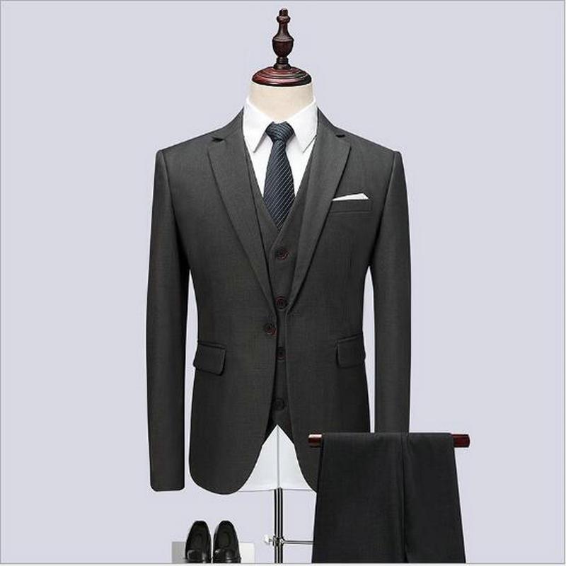 بدلة زفاف رسمية للرجال ، بدلة ضيقة باللون الرمادي الداكن ، مناسبة للعمل ، بدلة رجالية من 3 قطع ، 2019
