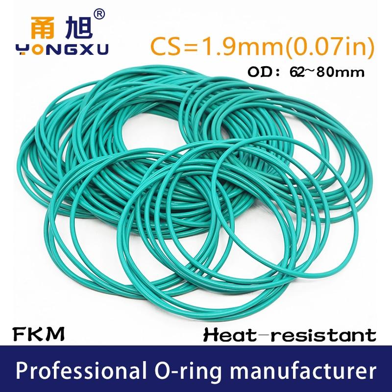 Juntas tóricas de goma fluorada verde FKM CS1.9mm OD62/63/64/65/67/68/70/75/80*1,9mm O anillos junta de sellado arandela fkm