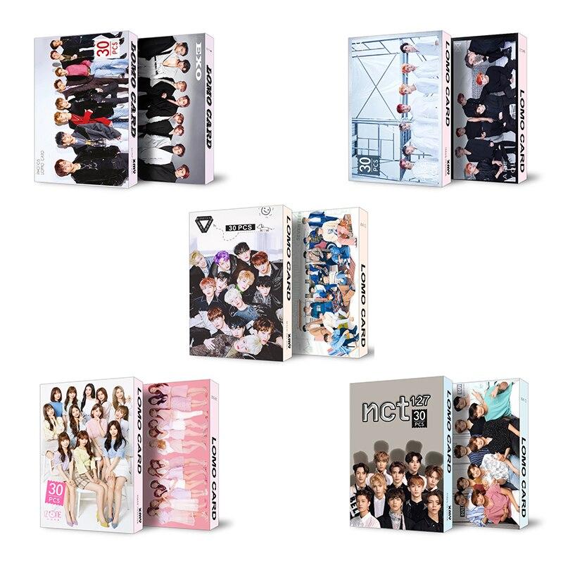 30pcs/Set Kpop NCT127 IZONE SEVENTEEN MONSTA X Photocard Idol Lomo Photo Card Fans Gifts Drop Shipping