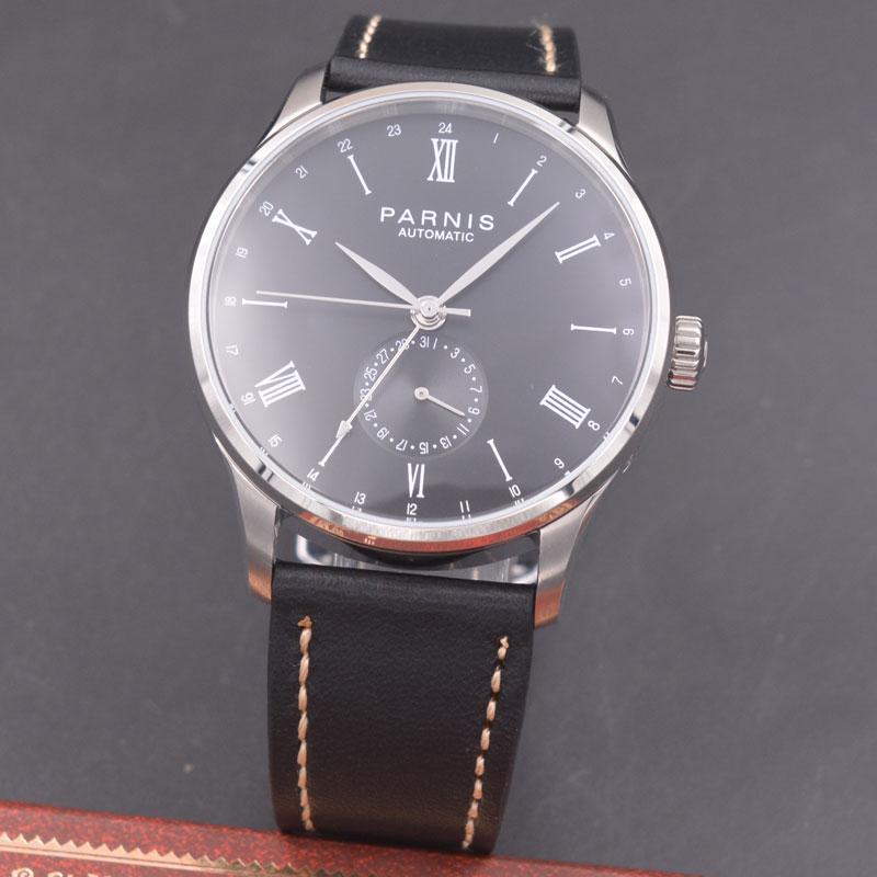 Parnis 42mm watch  black dial calendar  parnis Automatic mechanical men watch Seagull 1690 Movement  PN616