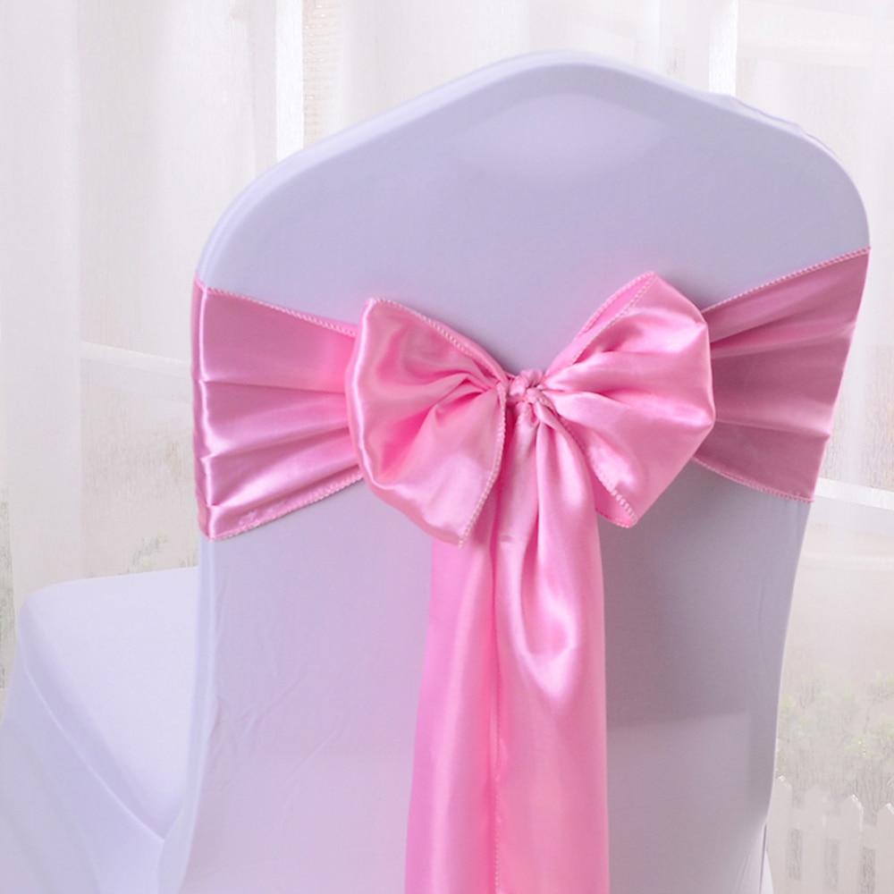 بالجملة 10 قطعة ضوء الوردي الحرير كرسي القوس الزنانير الشريط ل حفل زفاف زخرفة مصممة لمأدبة طعام 6.7