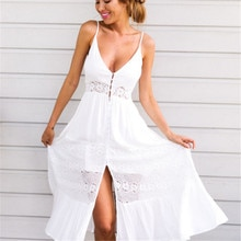 Hirigin New Sexy Women dress 2018 white lace Summer Vintage Deep V-Neck Solid Long Maxi Evening Party Beach Dress Sundress