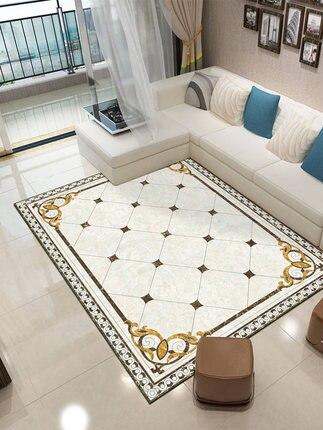 Alfombra de estilo chino y europeo para sala de estar, sofá, mesa de café, alfombra con diseño de mármol, alfombra para dormitorio y pie de cama, hogar, rectangular completo