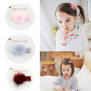 12pcs/lot Girls Kids Baby Headwear Fur Ball Girls Small Lovely Solid Hairclip Kids Hairpins Boutique Hair Accessories Wholesale