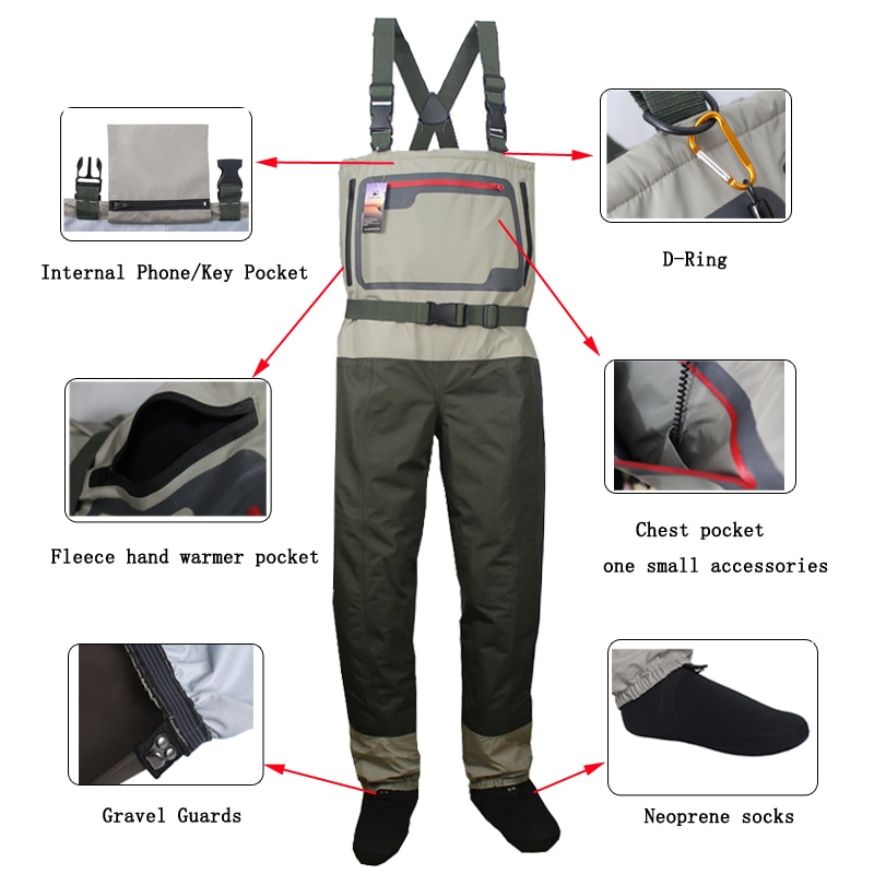 Men's Fishing Chest Waders Breathable Stocking Foot Wader Lightweight Convertible Hunting Wading Pants  Kit for Fly Fishing enlarge
