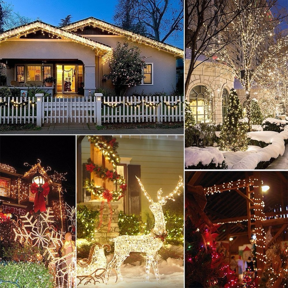 LED húr fény ezüst huzal meleg fehér koszorú otthoni karácsonyi - Üdülési világítás - Fénykép 5