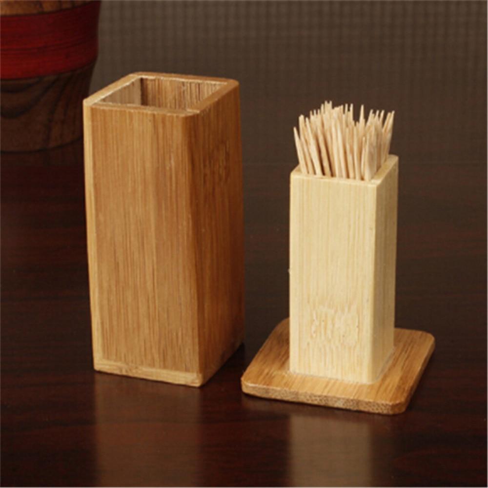 Heißer Verkauf Natürliche Bambus Zahnstocher Box mit Abdeckung Platz Kaffee Restaurant Hotel Container Küche Werkzeug Portable Storage Box