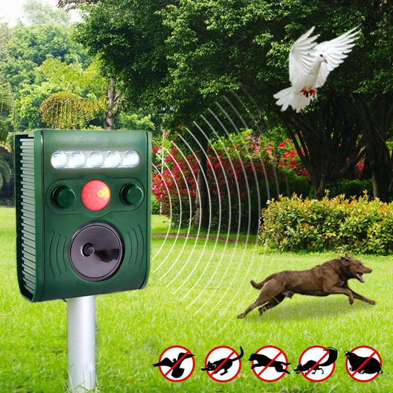 Garden Ultrasonic PIR Sensor Solar Animal Repeller Strong Flashlight Bird Eco-friendly Solar Powered