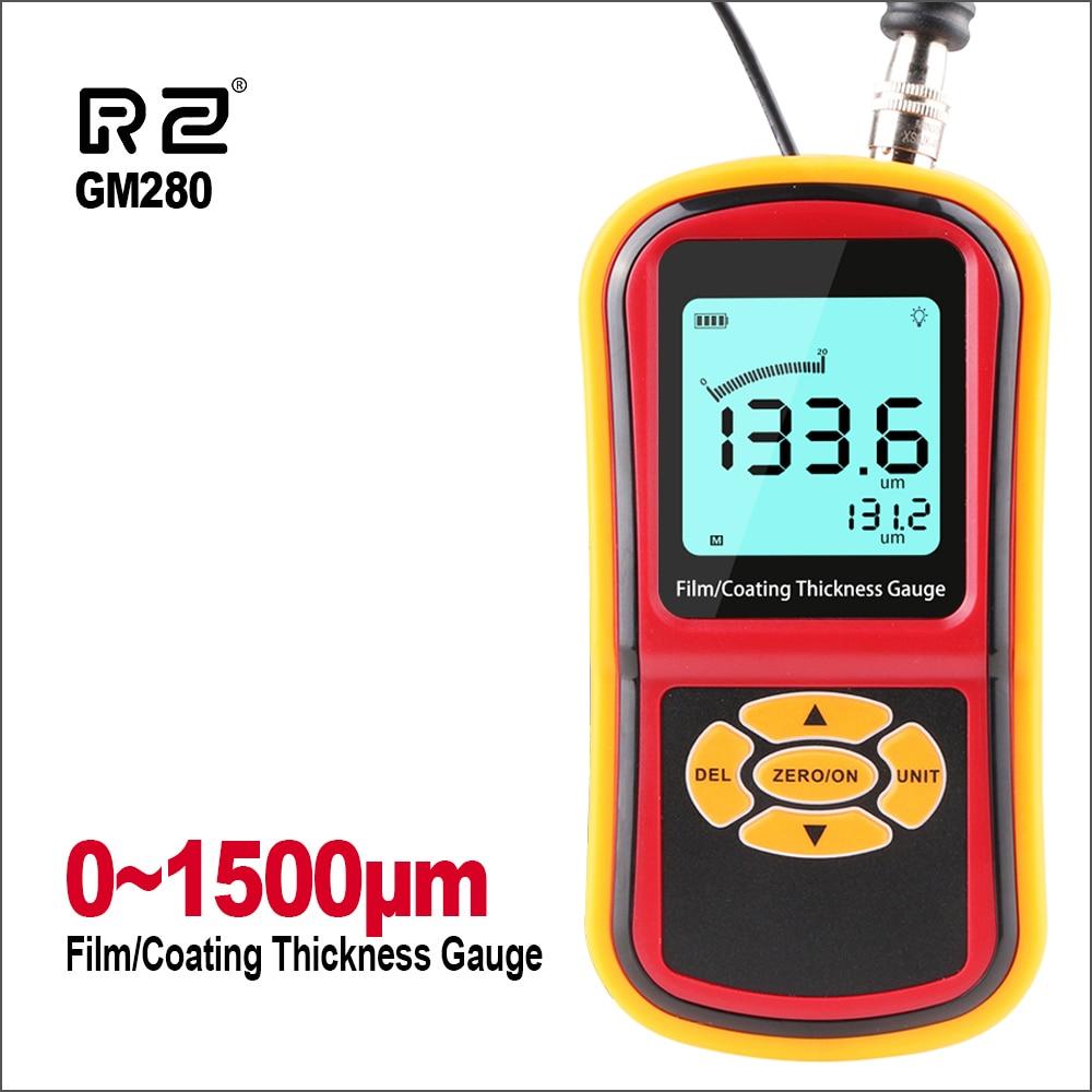 RZ Eddy Current Thickness Gauge Meter Digital Coating Film Paint/Sheet Metal Thickness Gauge Range 0~1500um Thickness Gauge