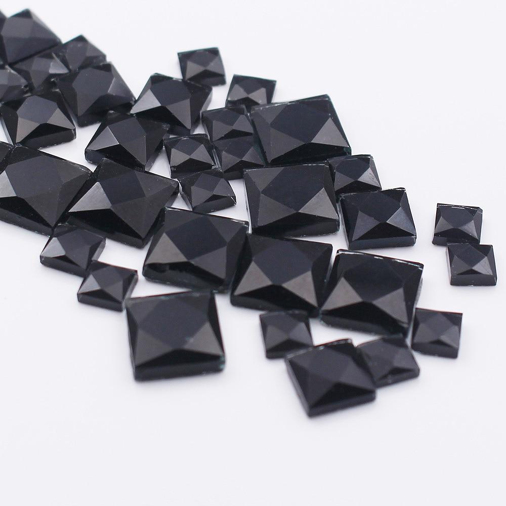 4mm 6mm 8mm 10mm Square Shape Black Clolor Shiny Glass Crystals Rhinestones Hotfix Glue-Back Rhinestones For Clothes decoration