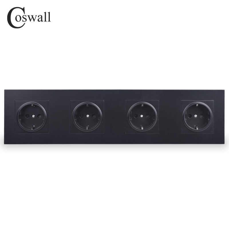 COSWALL 4 عصابة جدار مقبس الطاقة على الأرض 16A الاتحاد الأوروبي القياسية رباعية المخرج مع المبرد واقية الباب لوحة الكمبيوتر