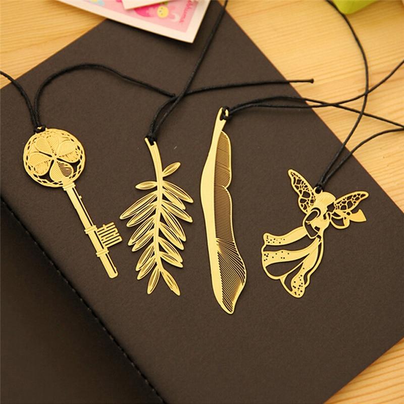 4 Uds Mini lindo Kawaii marcalibros de Metal dorado Clip de papel antiguo plateado mariposa libélula marcas de libros Statioenry coreano