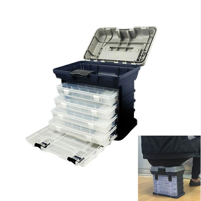 Acessórios de pesca, de alta qualidade, 5 camadas, pp + abs, grande, caixa 27x17x26cm, alça de plástico, pesca ferramentas caixa de equipamento de pesca carpa