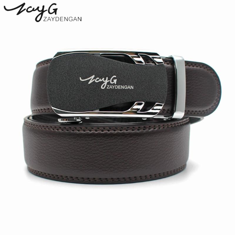 ZAYG Mens Business Style Belt Designer Leather Strap Man metal Automatic Buckle Belts For Men Top Quality Girdle Jeans