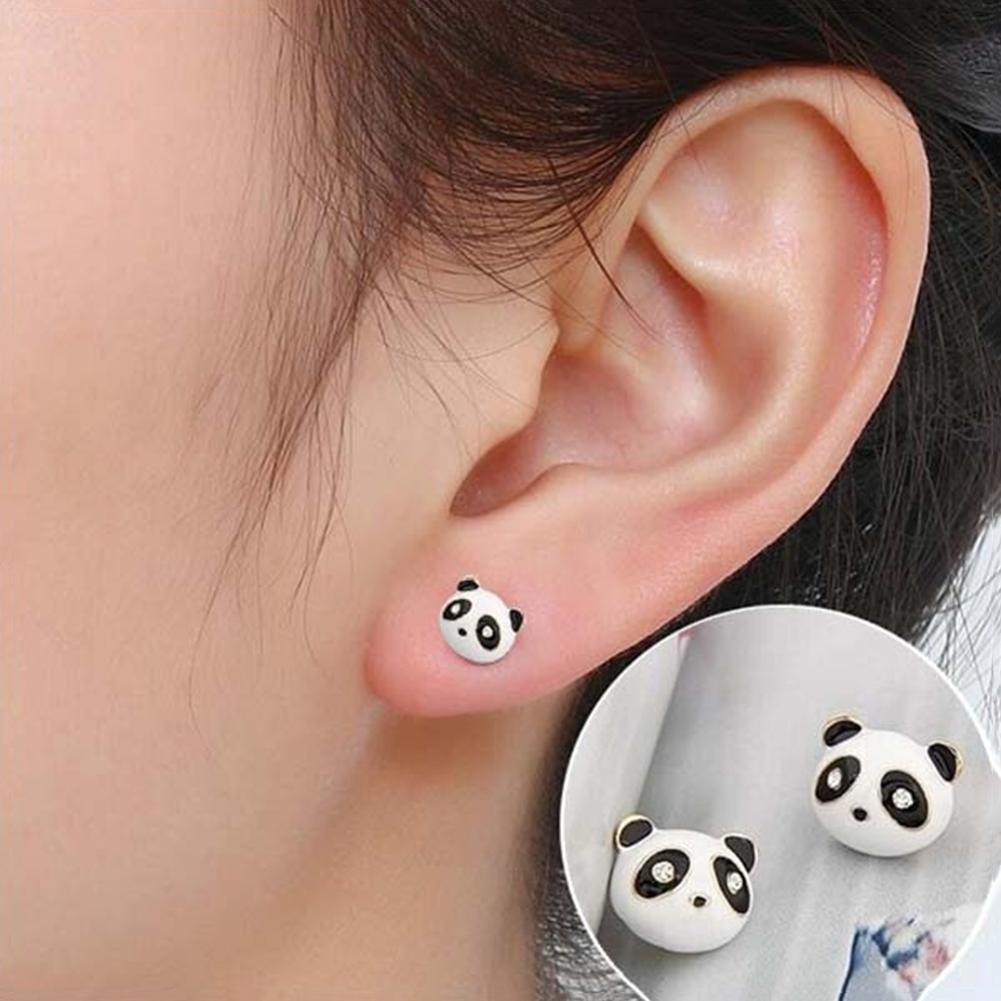 Pendientes con imagen de dibujos animados de Panda adorable para mujeres y niñas, Mini pendientes esmaltados, joyería