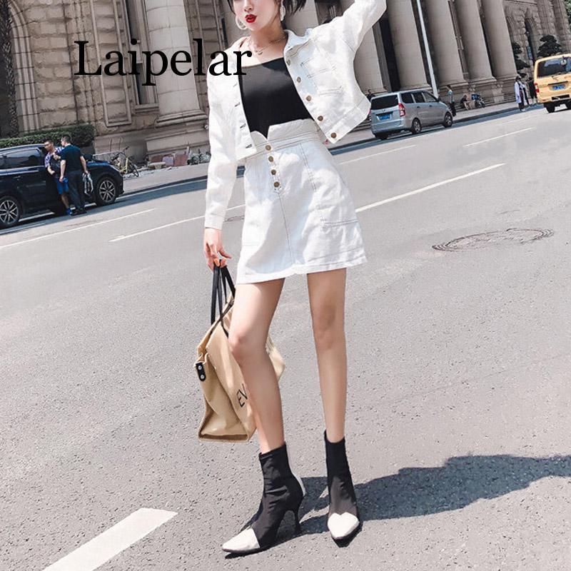 ¡Novedad de 2020! Conjunto de chaqueta vaquera para mujer de Laipelar, conjunto de dos piezas en color negro y blanco