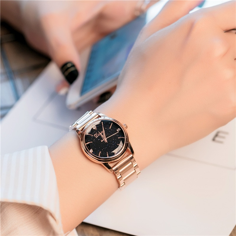 Marca de Luxo Relógio de Pulso para Mulheres de Cristal Movimento do Relógio Relógios de Pulso de Aço Senhora Estrelado Projeto Japonês Inoxidável 2021 Céu