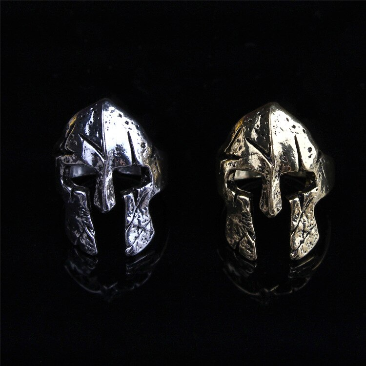 Spartan Hero anillos de máscara de casco para hombres Punk Biker casco joyería antiguo tailandés plata Rock hombres Sparta anillos fiesta año nuevo regalo