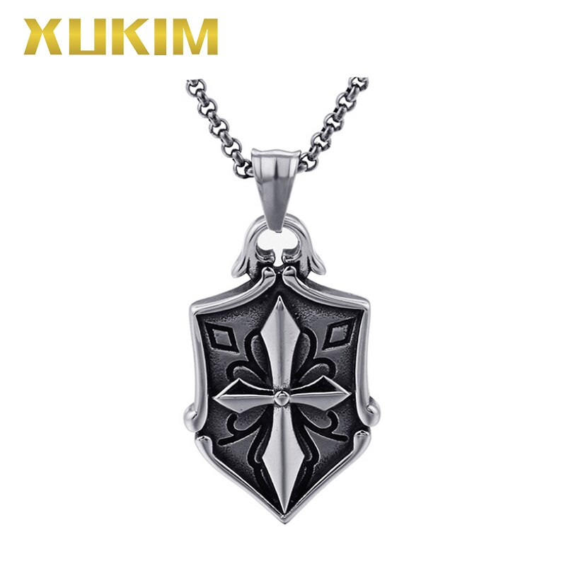 RP125 Xukim Jewelry Europe and America Men's Jewelry Shield Cross Religion Pendant Necklace