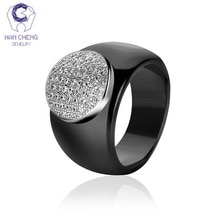 HanCheng New Fashion Luxury Big Round Gem Stone  Cubic Zirconia Ceramic Ring Statement Rings For Women Jewelry Bijoux