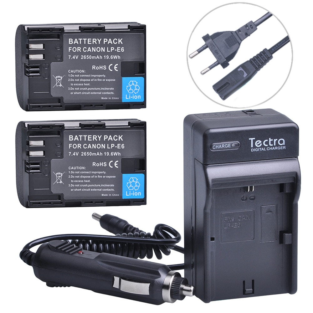 Tectra 2 uds 2650mAh LP-E6 LP-E6N batería + Digital cargador de pared...