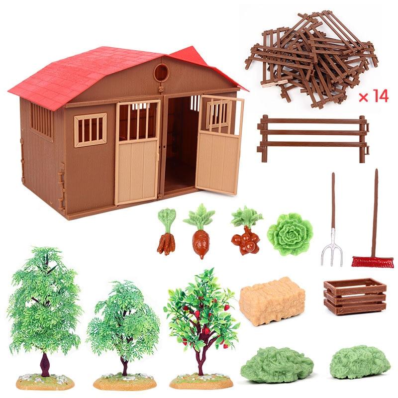 Фигурки, зоопарк, ферма, дом, модель, фермер, корова, утка, птица, животные, набор, фигурка, миниатюрная прекрасная образовательная игрушка дл...