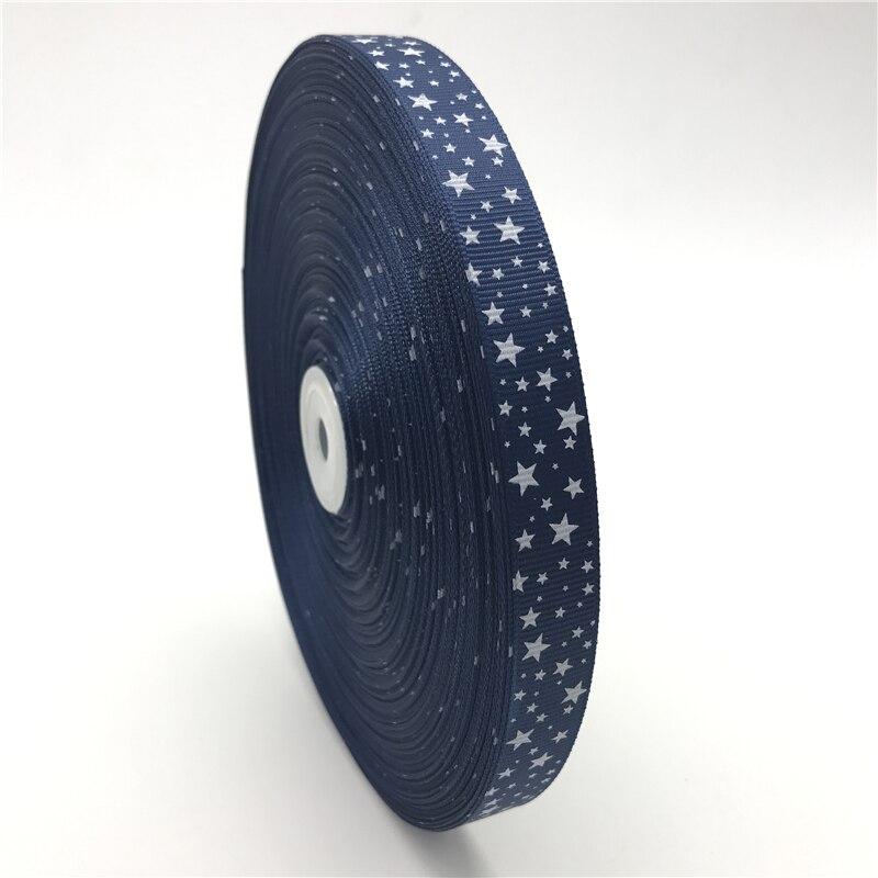 5 yardas/lote de 5/8 pulgadas (15mm), cinta para el pelo con estampado azul marino, cinta para el pelo de grogrén, decoración de Navidad, boda, costura DIY