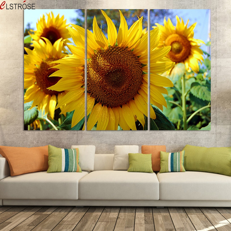 CLSTROSE Luxry 3 Panel Modern Painting Home Decorative Art Picture Paint On Canvas Prints Painting Sunflower The Field Unframed